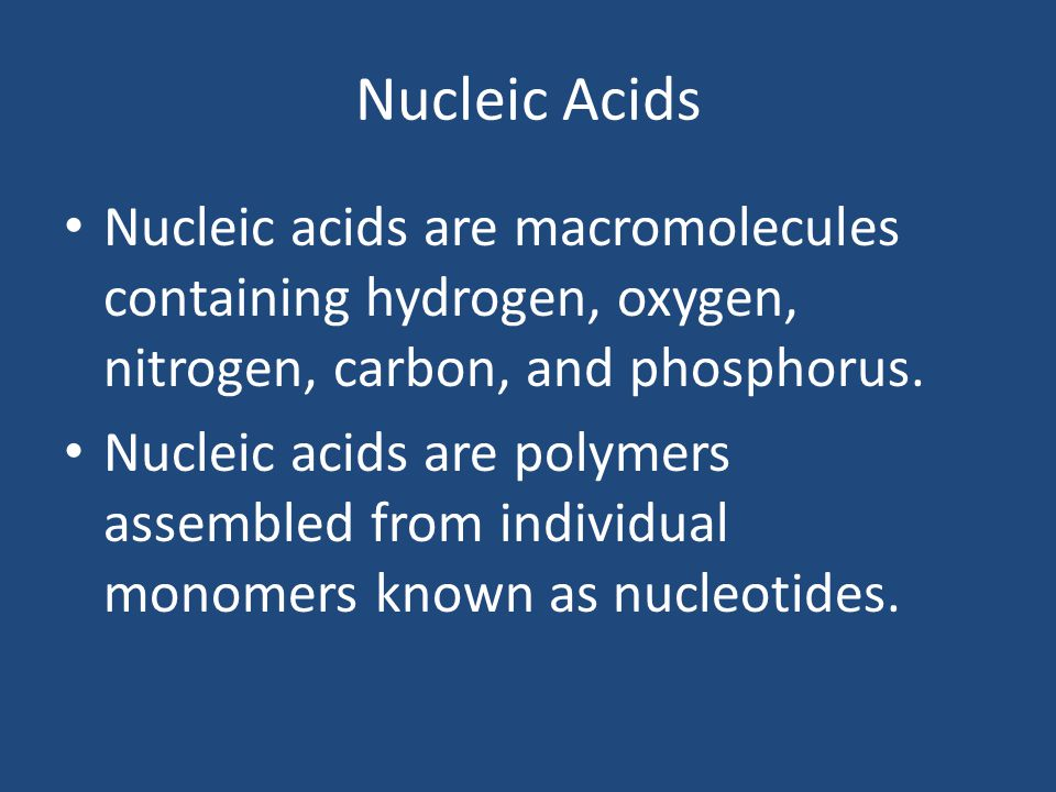 Nucleic Acids Nucleic acids are macromolecules containing hydrogen, oxygen, nitrogen, carbon, and phosphorus.
