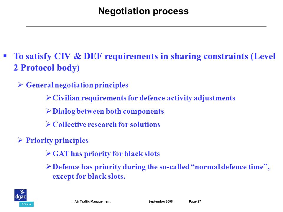Negotiation process To satisfy CIV & DEF requirements in sharing constraints (Level 2 Protocol body)