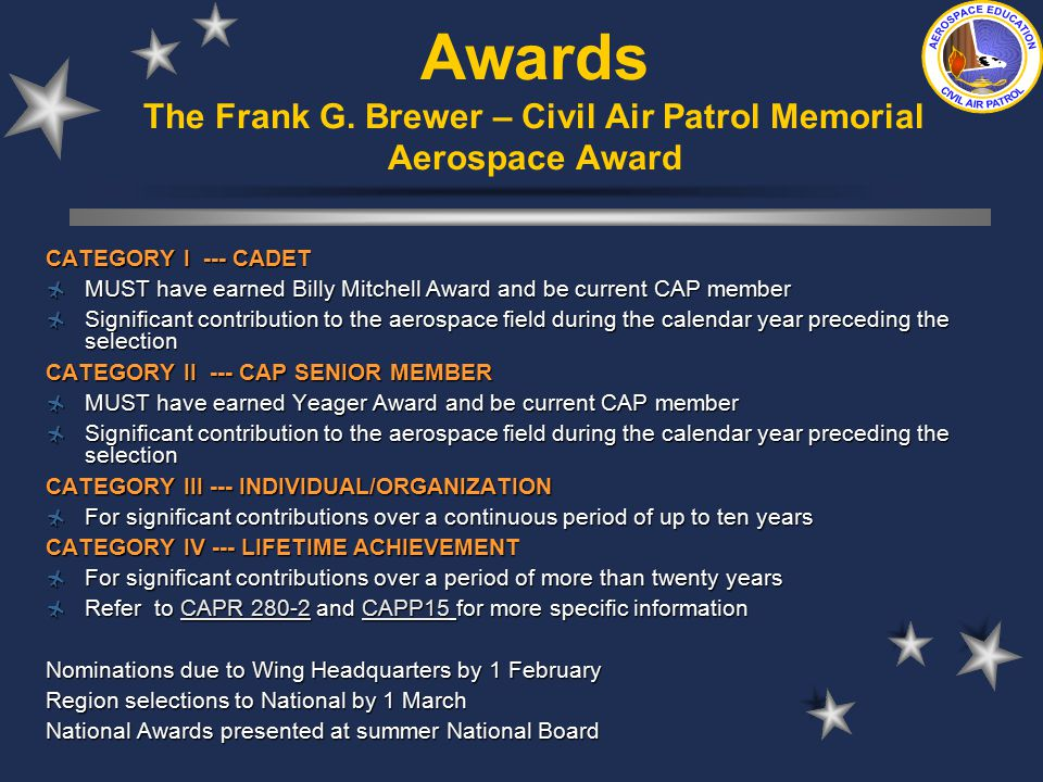 Aerospace education in civil air patrol ppt download awards the frank g brewer civil air patrol memorial aerospace award yelopaper Gallery