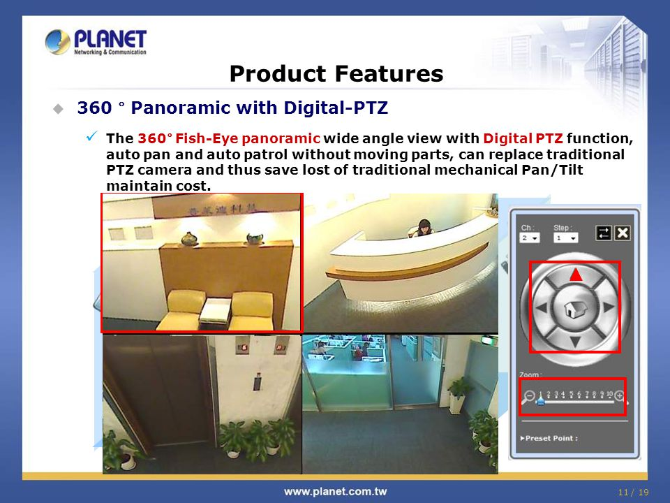 Product Features 360 ° Panoramic with Digital-PTZ
