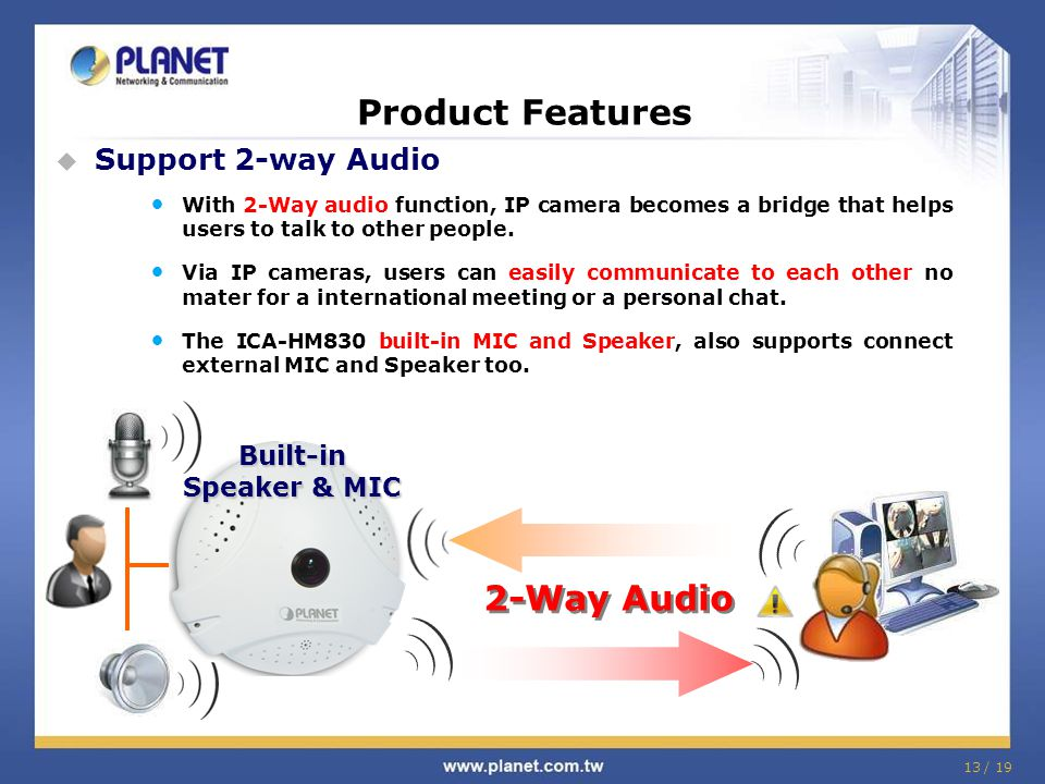 Product Features 2-Way Audio Support 2-way Audio
