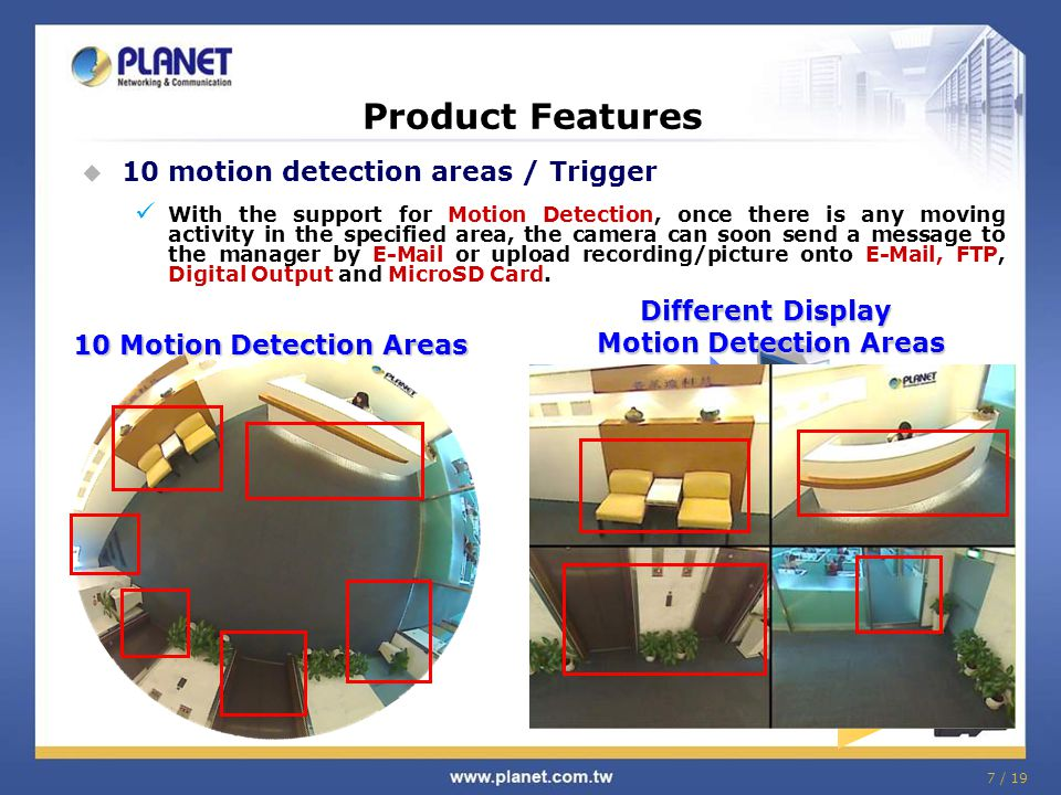Different Display Motion Detection Areas
