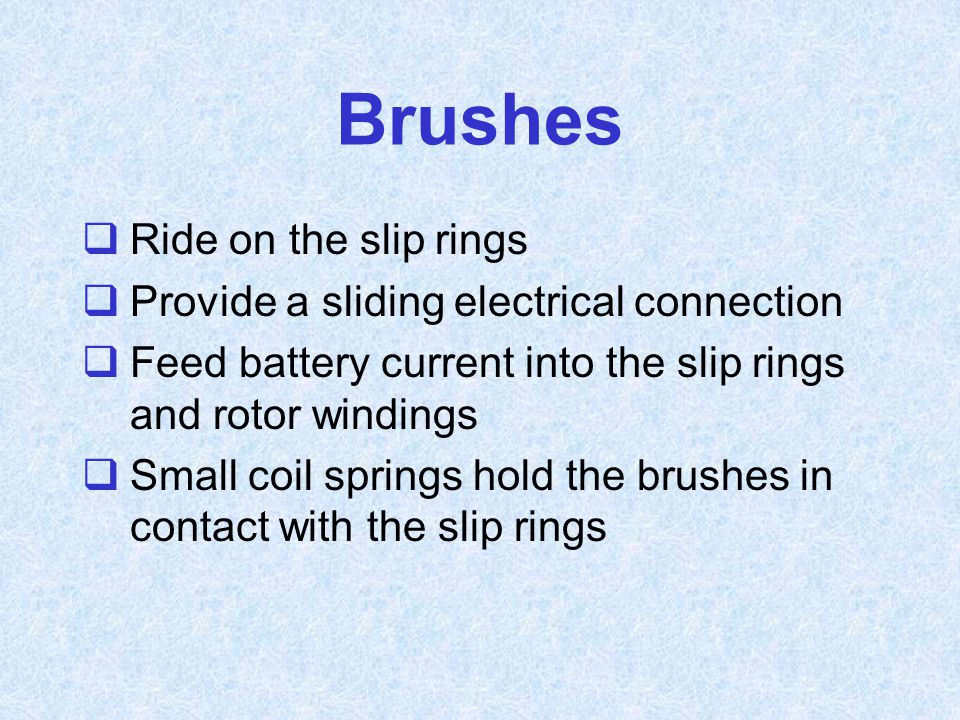 Brushes Ride on the slip rings Provide a sliding electrical connection