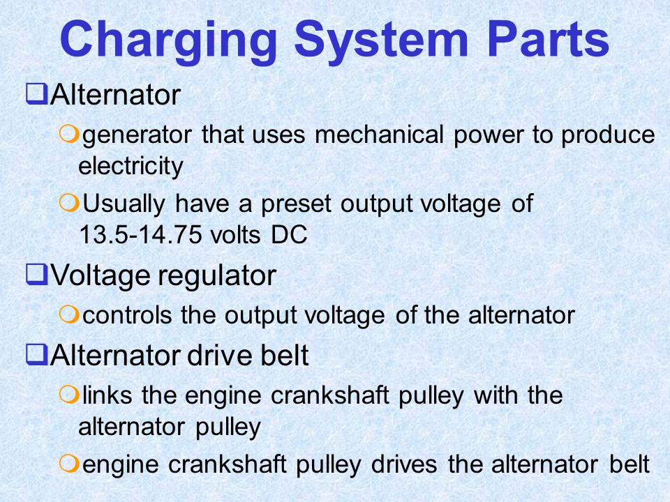 Charging System Parts Alternator Voltage regulator