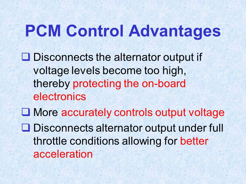 PCM Control Advantages