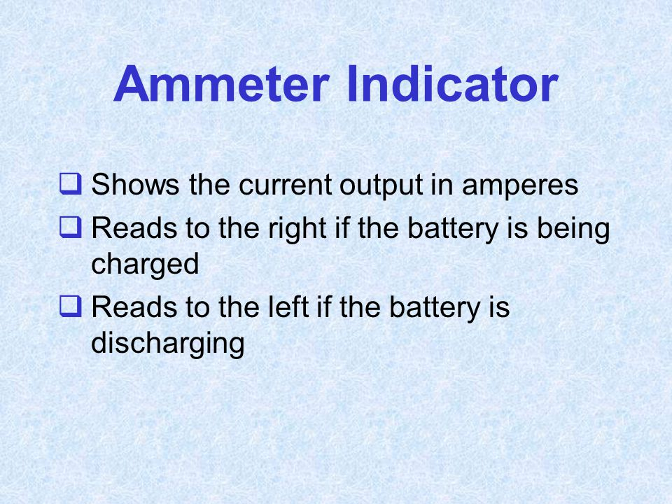 Ammeter Indicator Shows the current output in amperes