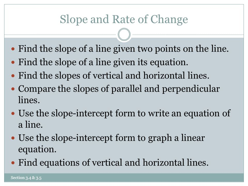 slope intercept form rate of change  Slope and Rate of Change Equations of Lines - ppt video ...