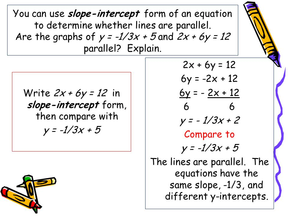 slope intercept form with parallel lines  Parallel and Perpendicular Lines - ppt video online download