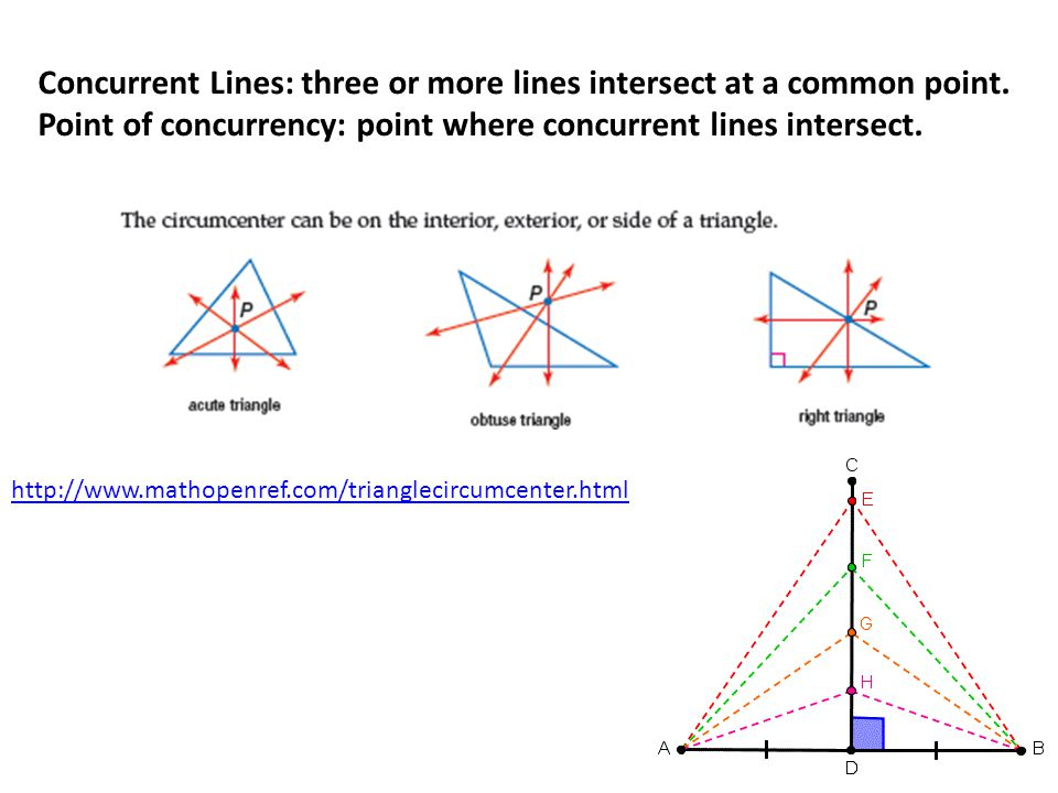 Concurrent Lines: three or more lines intersect at a common point.