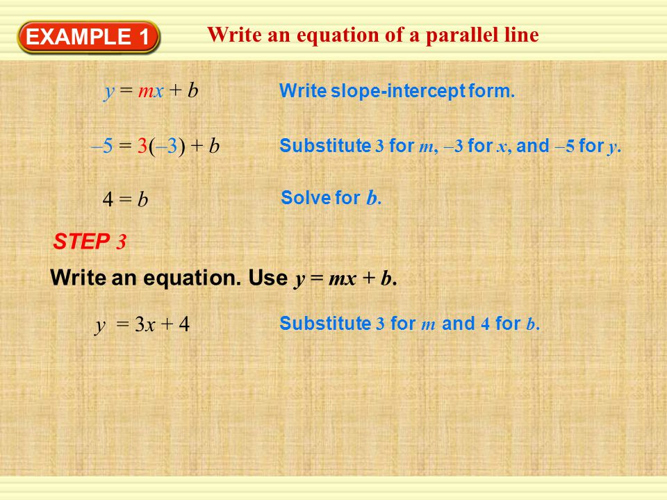 Write an equation of a parallel line