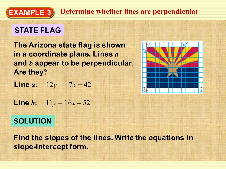 EXAMPLE 3 Determine whether lines are perpendicular.