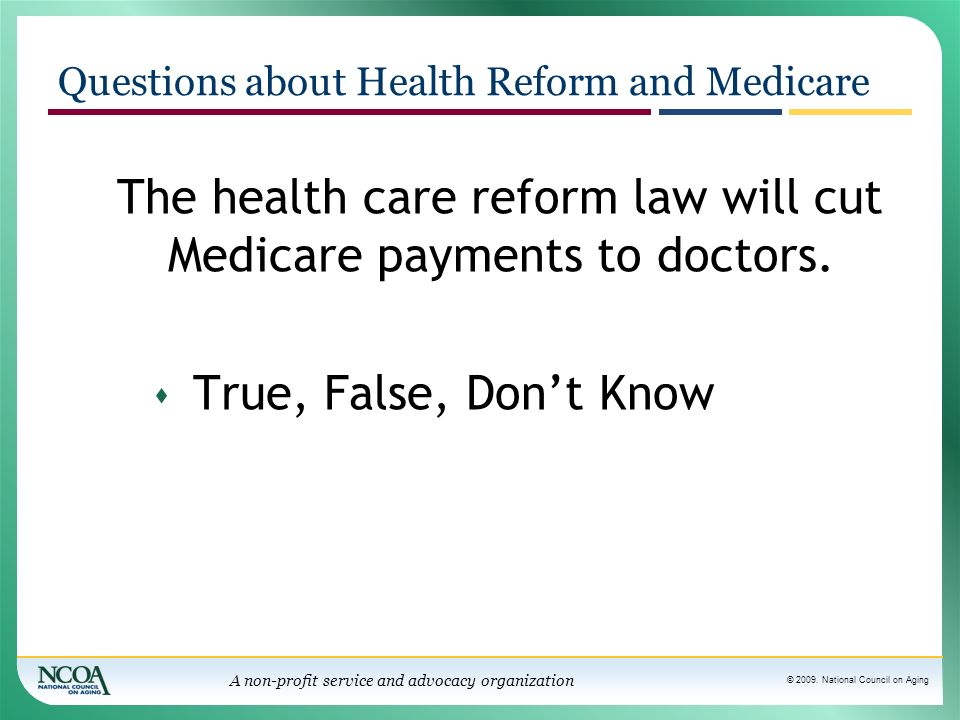 Questions about Health Reform and Medicare