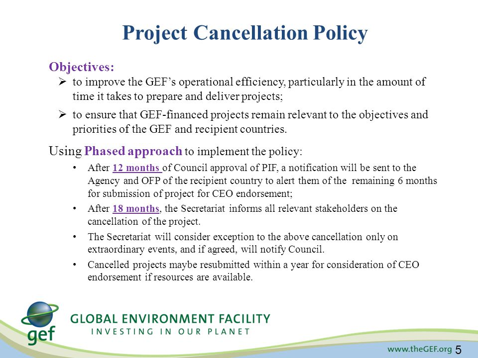 Project Cancellation Policy