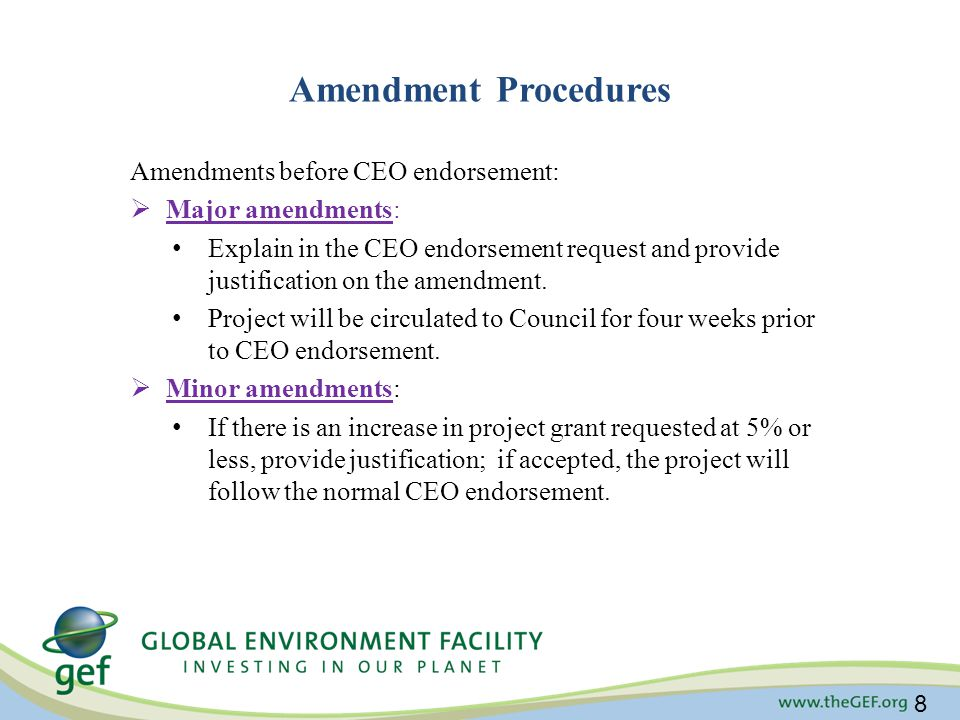 Amendment Procedures Amendments before CEO endorsement: