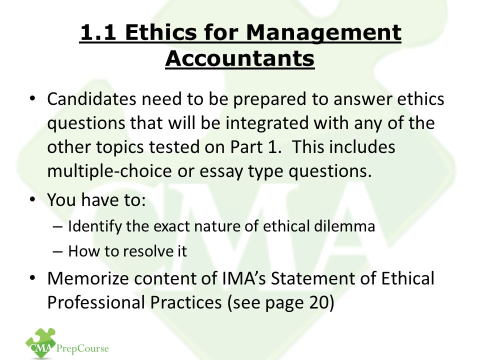 Ethics for Management Accountants and Cost Management