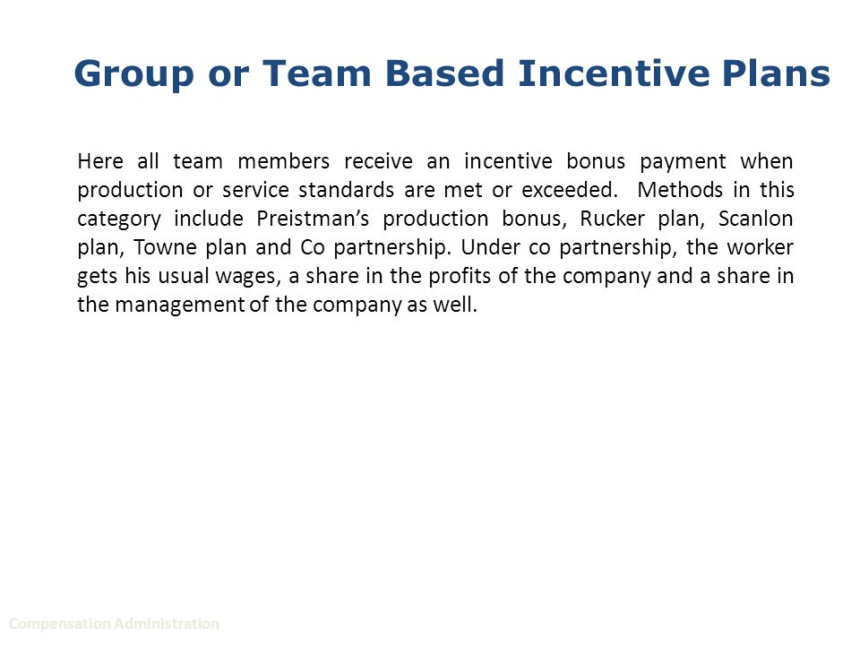 methods of incentive plans