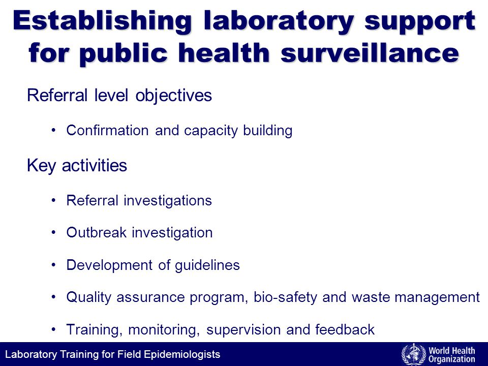 Establishing laboratory support for public health surveillance