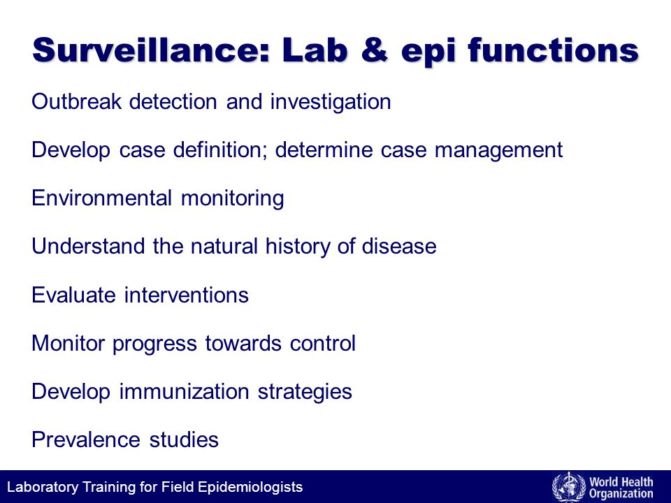 Surveillance: Lab & epi functions
