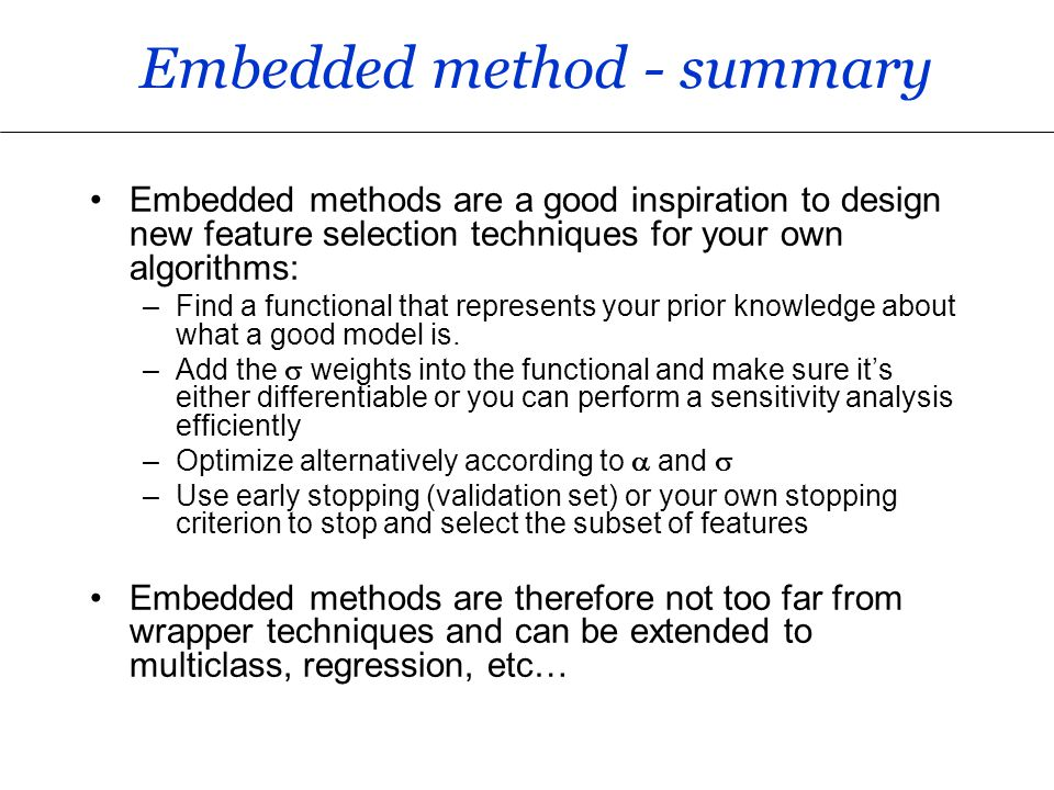 Lecture 4: Embedded methods - ppt video online download