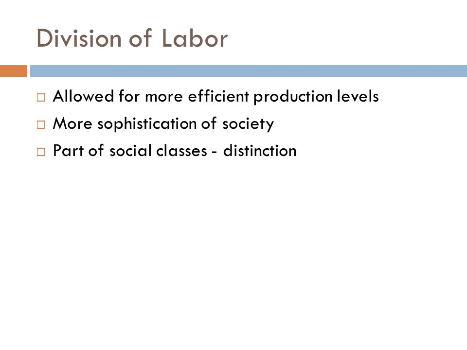 Division of Labor Allowed for more efficient production levels