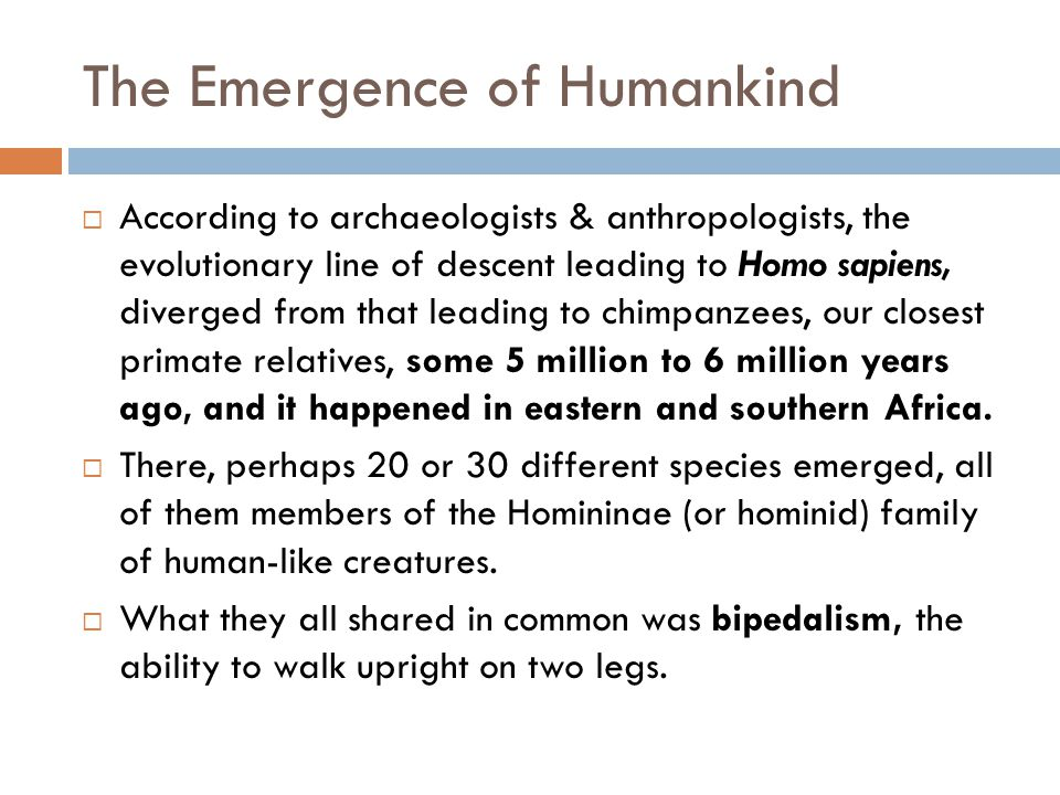 The Emergence of Humankind