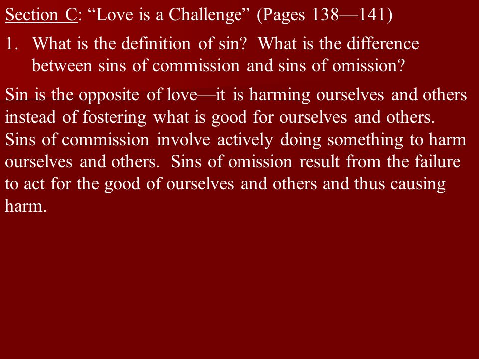 Section C: Love is a Challenge (Pages 138—141)