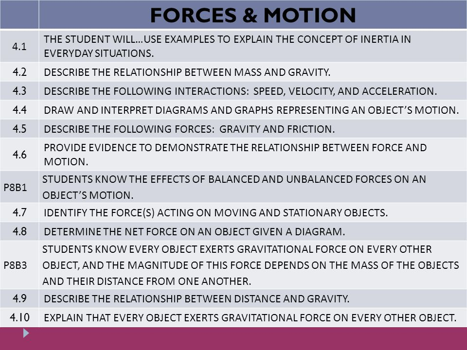 Forces Motion 41 The Student Willuse Examples To Explain The