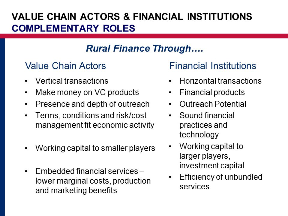 VALUE CHAIN ACTORS & FINANCIAL INSTITUTIONS COMPLEMENTARY ROLES