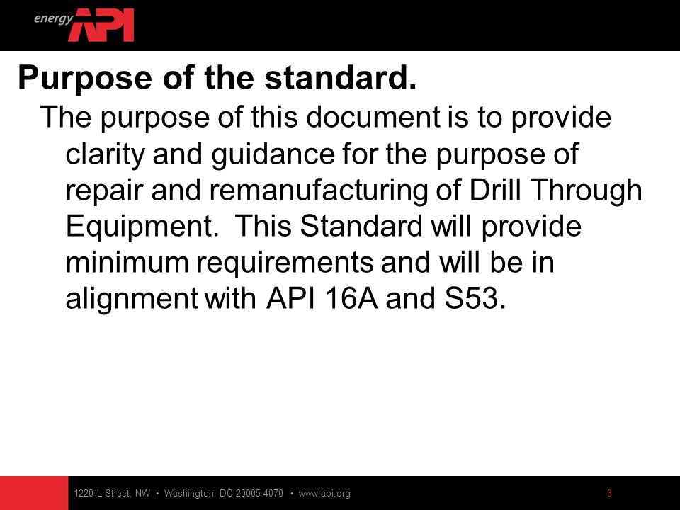 Api 16 ar specification for drill-through equipment.