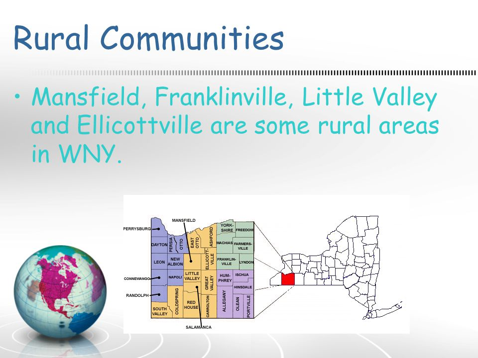 Rural Communities Mansfield, Franklinville, Little Valley and Ellicottville are some rural areas in WNY.