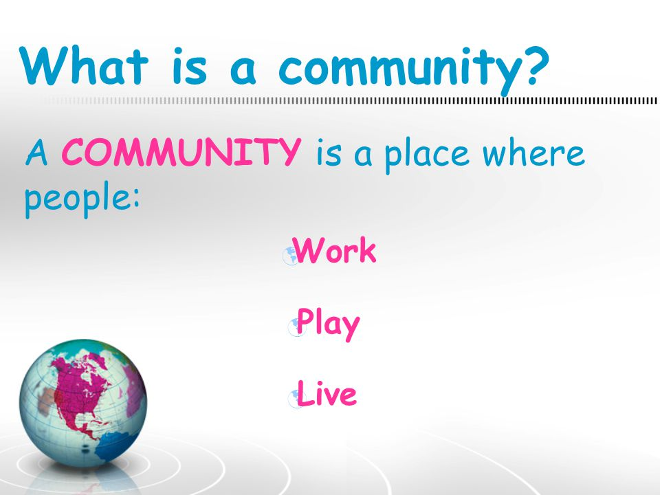 What is a community A COMMUNITY is a place where people: Work Play