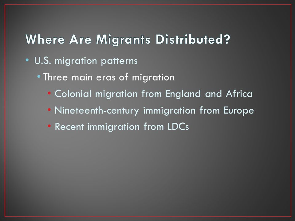 Where Are Migrants Distributed