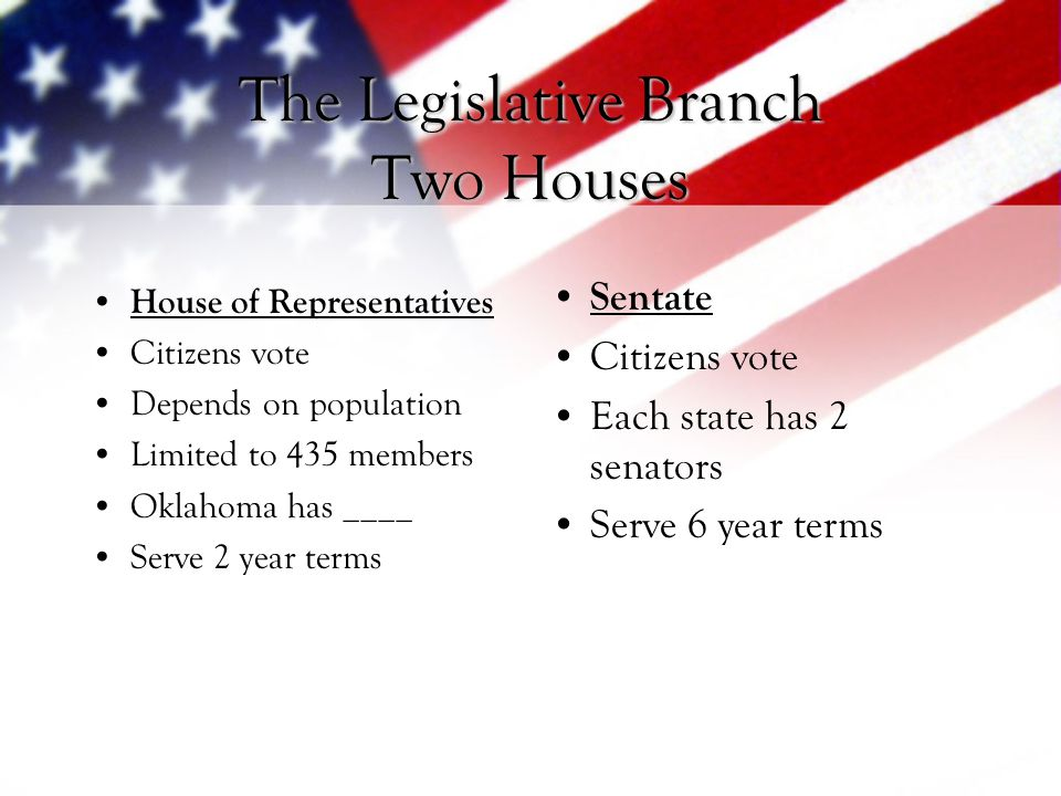 The Legislative Branch Two Houses