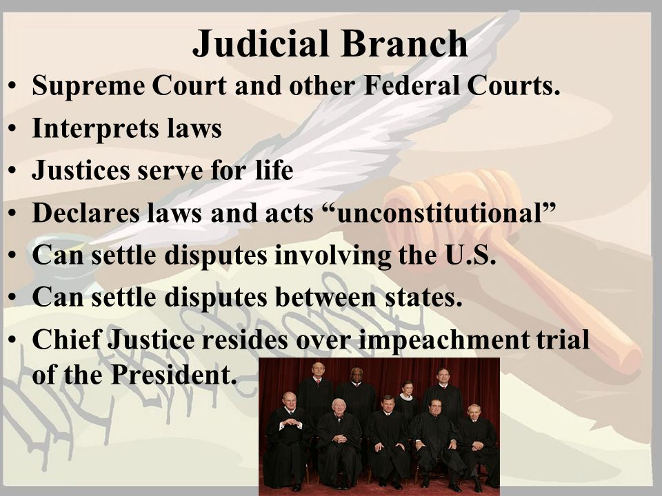 Judicial Branch Supreme Court and other Federal Courts.