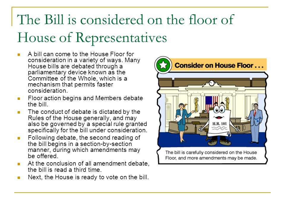 The Bill is considered on the floor of House of Representatives