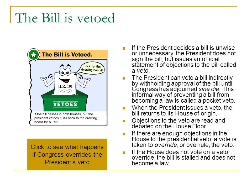 Click to see what happens if Congress overrides the President's veto