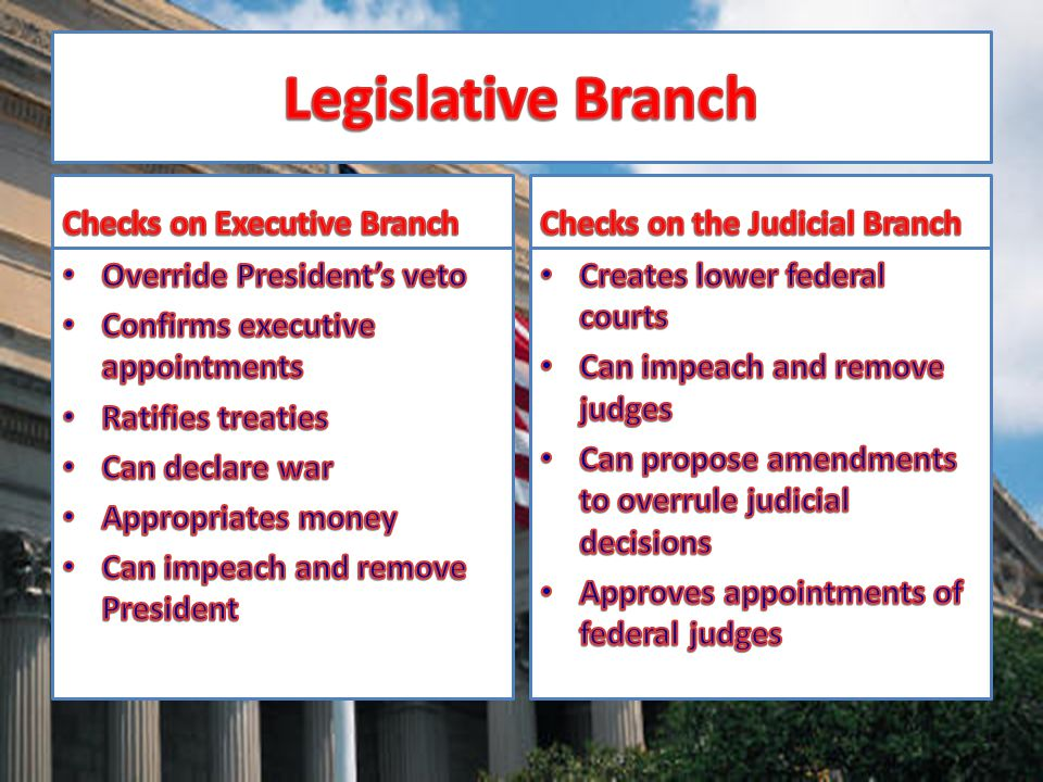 Legislative Branch Checks on Executive Branch