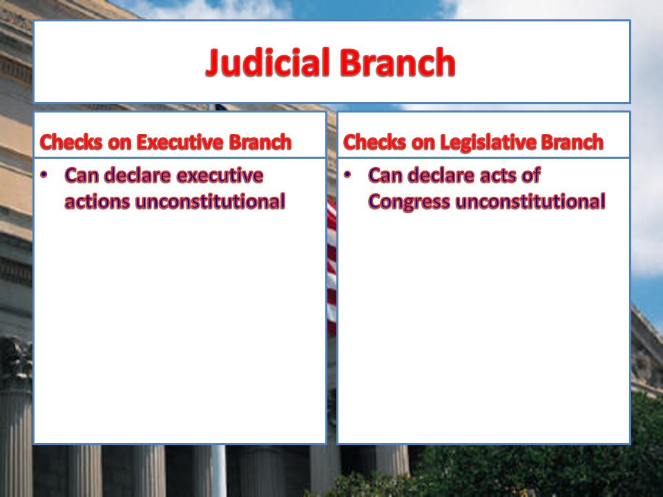 Judicial Branch Checks on Executive Branch