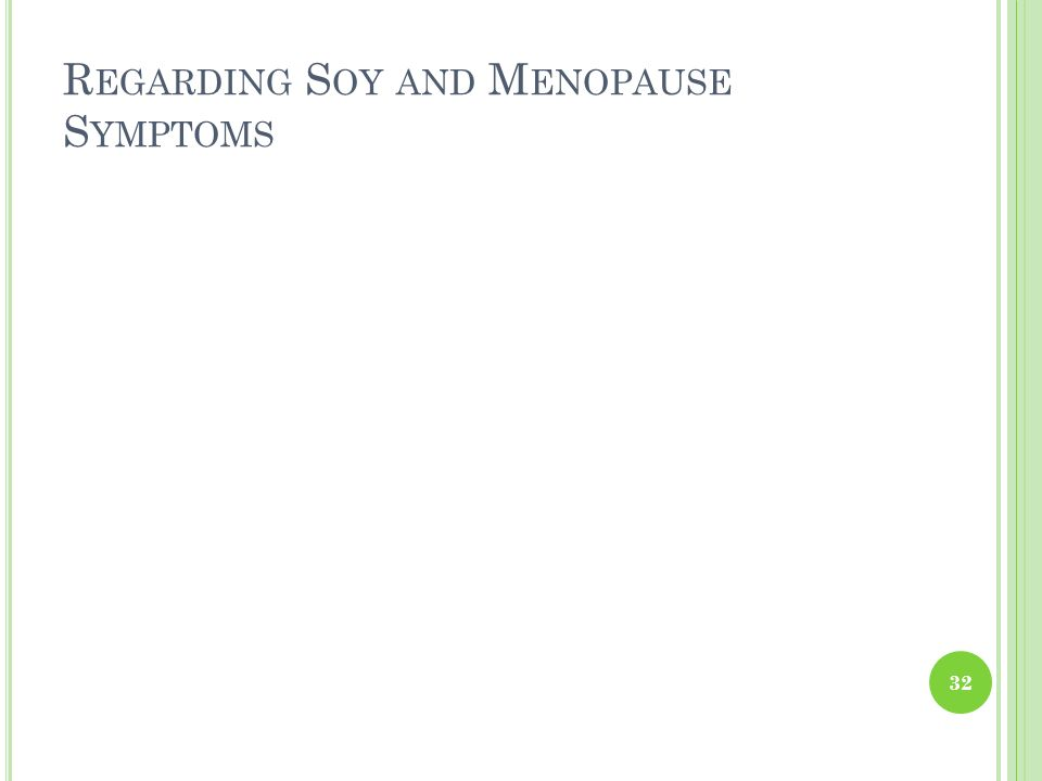 Regarding Soy and Menopause Symptoms