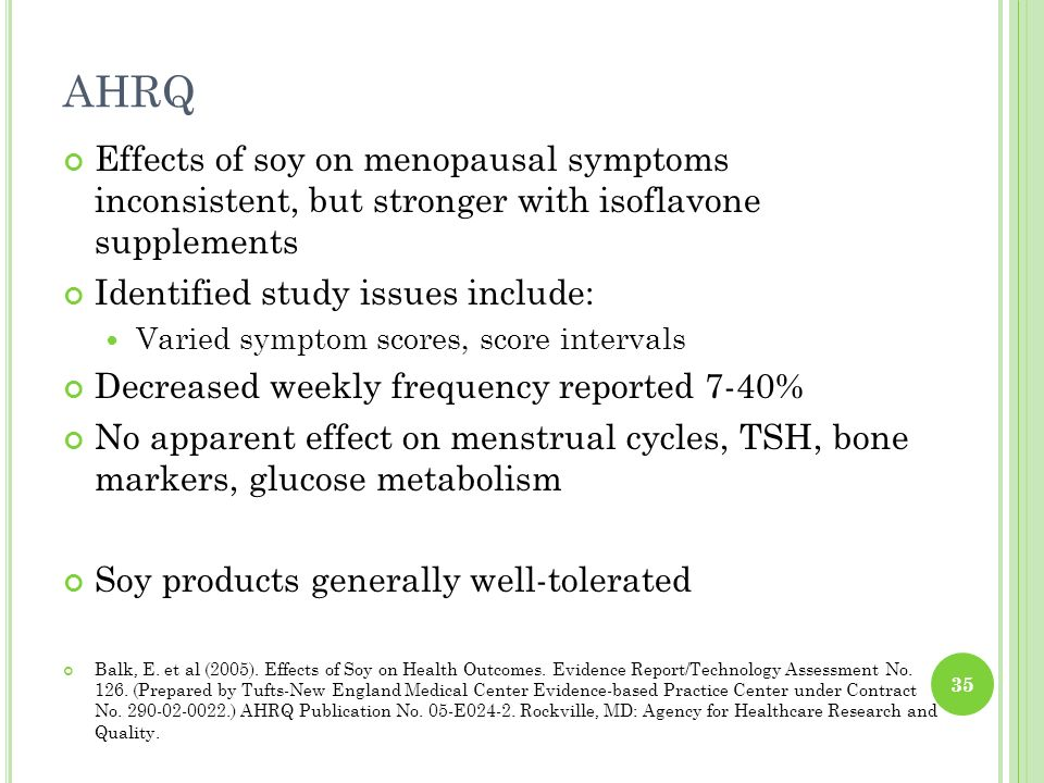 AHRQ Effects of soy on menopausal symptoms inconsistent, but stronger with isoflavone supplements.