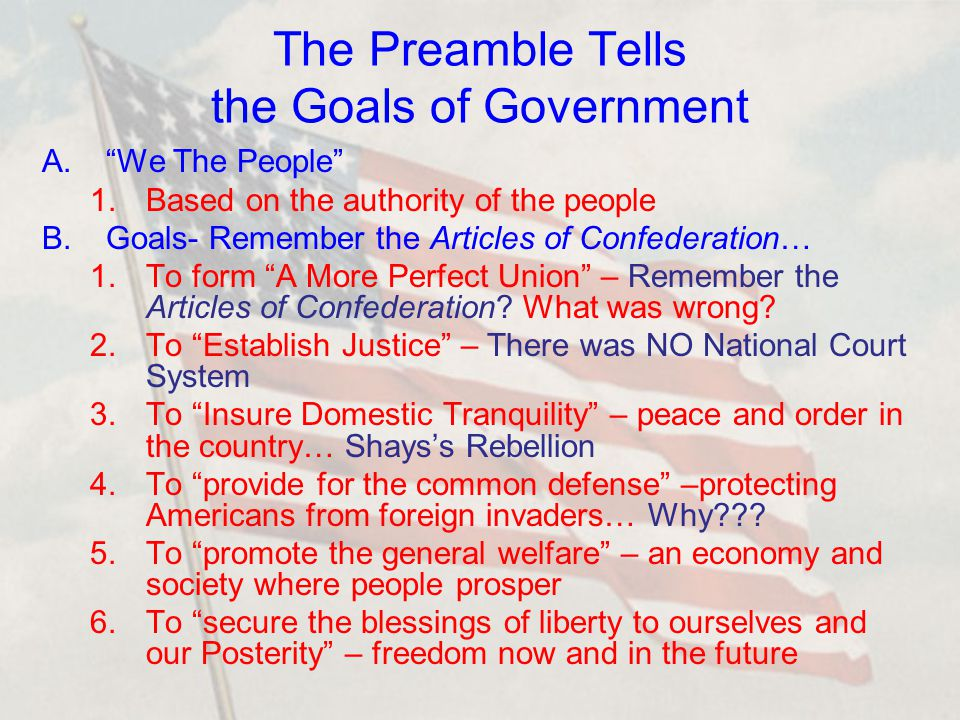 3 The Preamble Tells The Goals