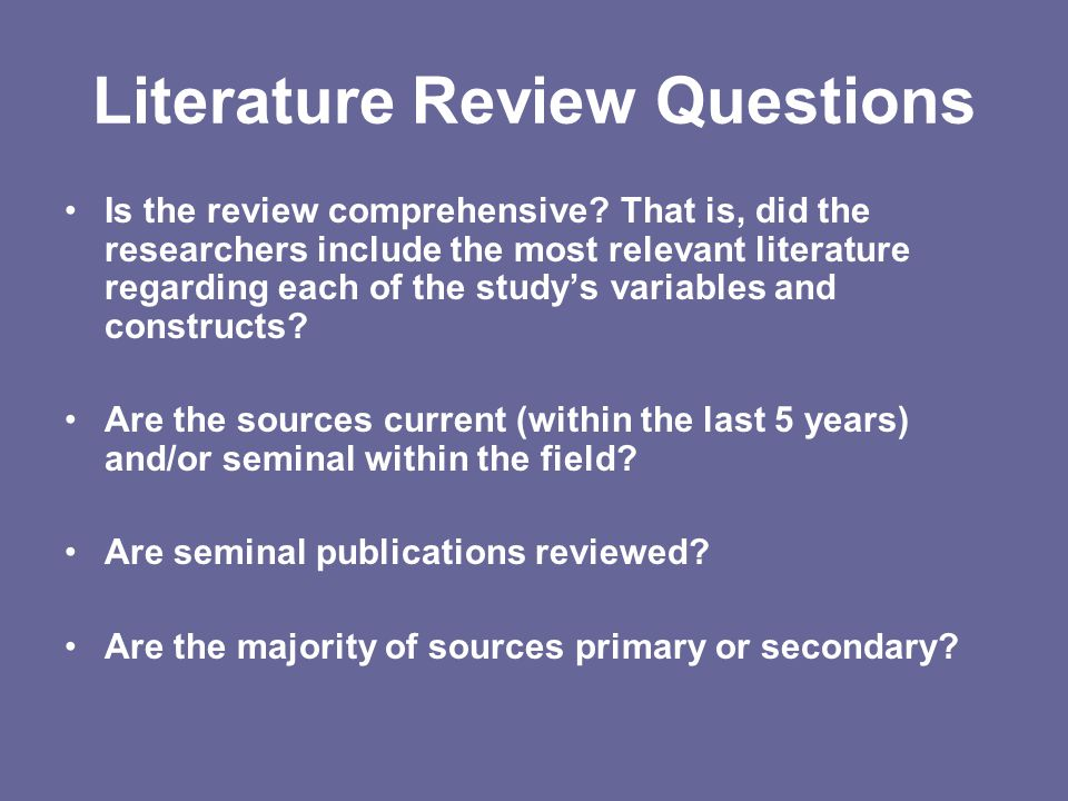 Literature Review Questions