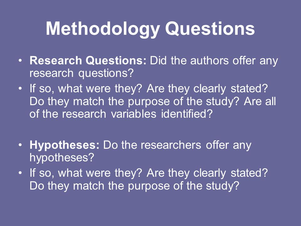 Methodology Questions