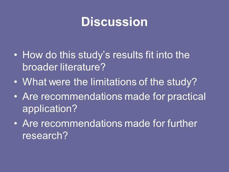 Discussion How do this study's results fit into the broader literature What were the limitations of the study