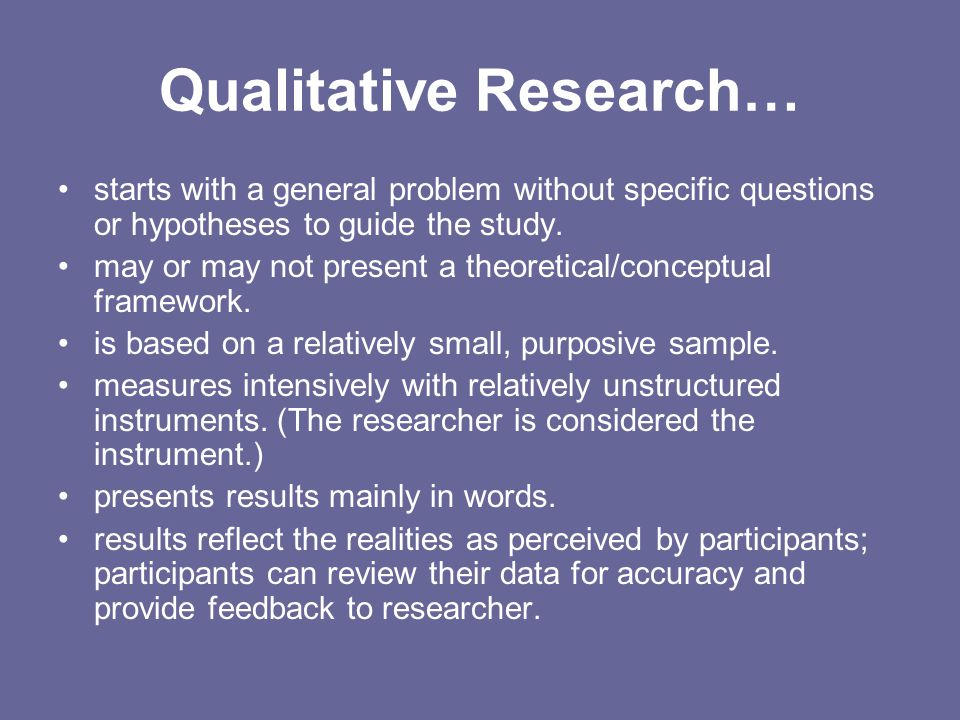Qualitative Research…