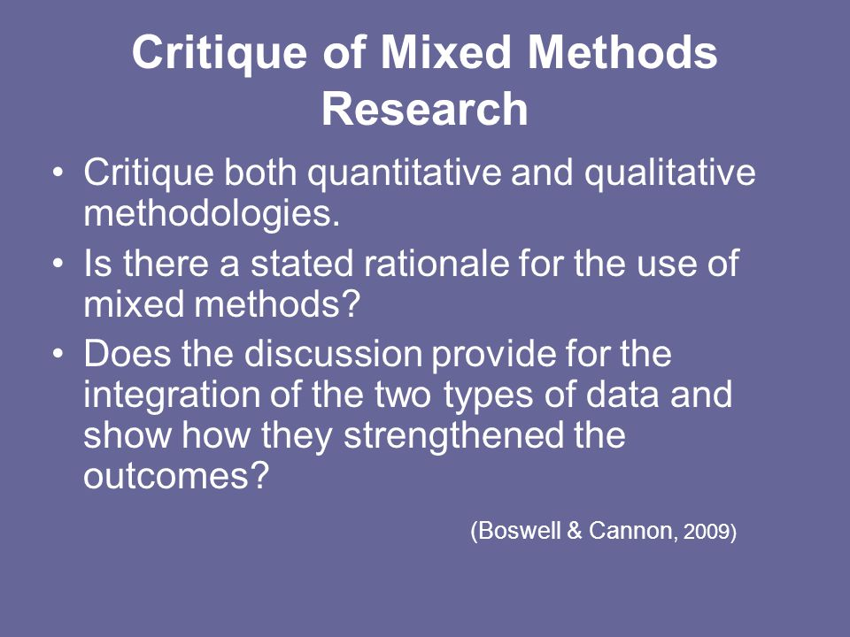 Critique of Mixed Methods Research