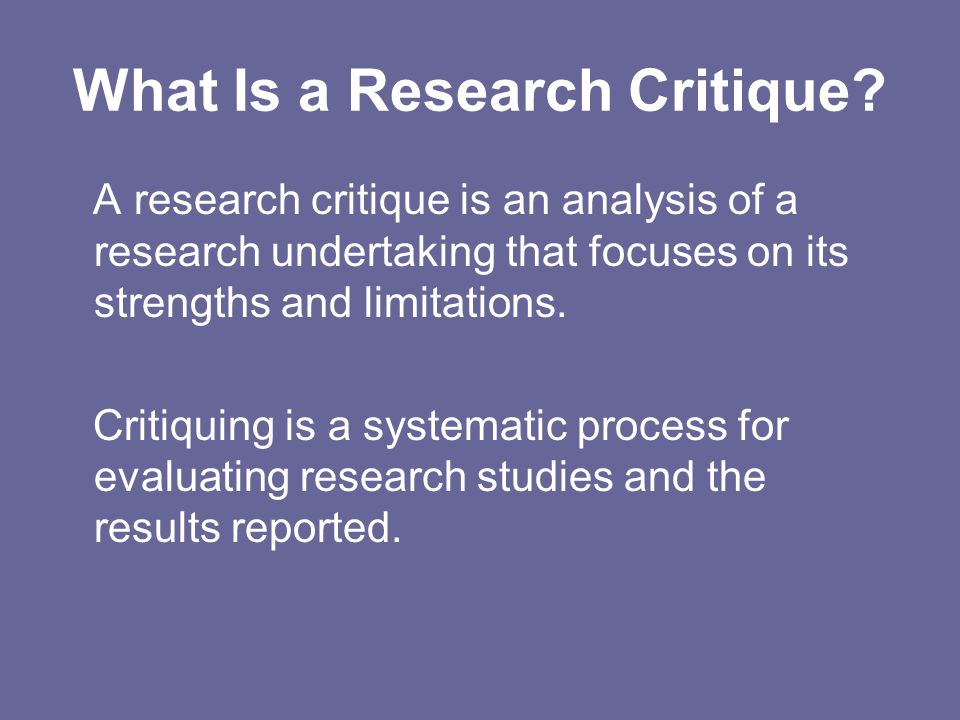 What Is a Research Critique