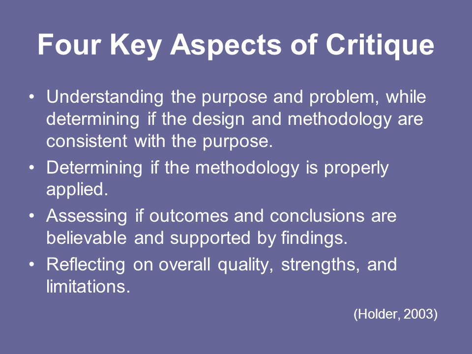Four Key Aspects of Critique