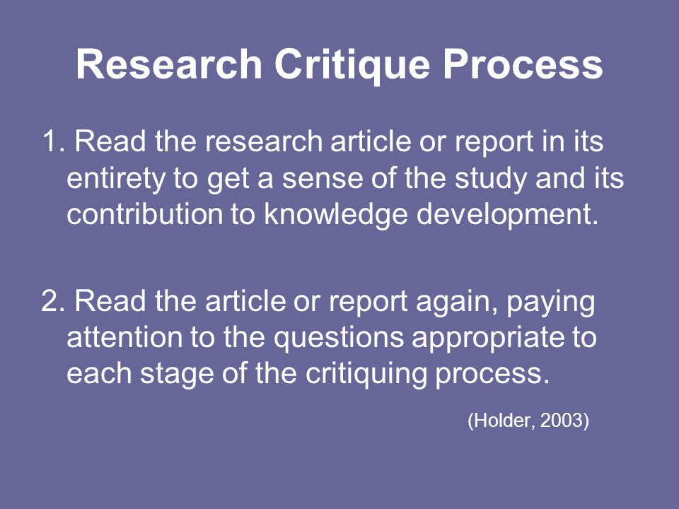 Research Critique Process