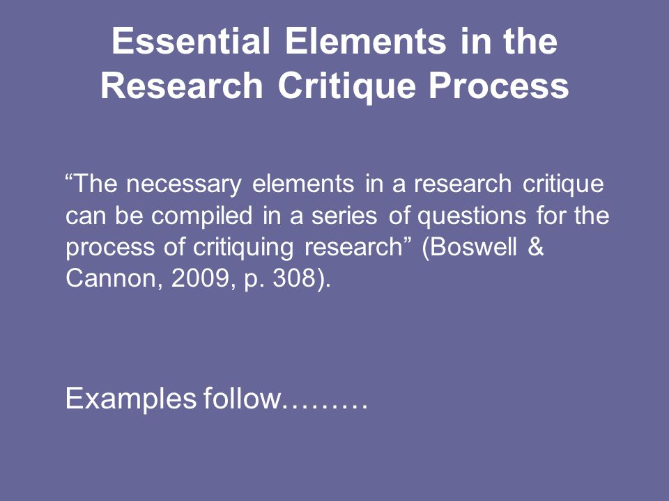 Essential Elements in the Research Critique Process